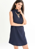 Katrina High Neck Shift Dress Dark Blue