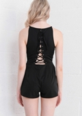 Keyhole Lace Up Fitted Playsuit Black