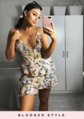 Tropical Print Ruffle Frill Mini Sun Dress Pink