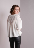 Lace Insert Off shoulder Top Blouse With Tie Detail 3/4 Sleeve Cream