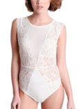 Lace Mesh Bodysuit White
