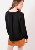 Lace Up Boho Top Black Lorenna | Lily Lulu Fashion