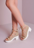 Lace Up Cleated Platform Shoes Nude