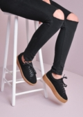 Lace Up Flatform Creepers Black Beige