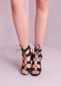 Lace Up Gladiator Block Heel Shoes Black
