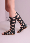 Lace Up Gladiator Sandals Black