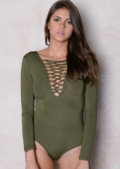 Lace Up Long Sleeve Bodysuit Khaki