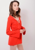 Lace Up Red 70s Flared Sleeve Playsuit Bay | Lily Lulu Fashion