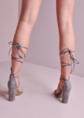 Lace Up Suede Ankle Tie Strappy Heels Grey