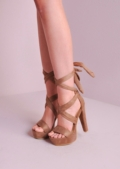Lace Up Tie Back Heels Suede Platforms Sandals Mocha