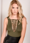 Khaki Lace Up Body Bodysuit Lily Lulu Fashion Nila