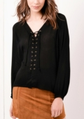 Lorenna Lace Up Boho Top Black