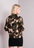 Light Army Camouflage Print Bomber Jacket Khaki