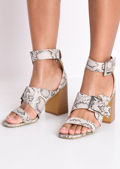 Faux Snakeskin Buckle Block Heeled Sandals Multi