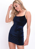 Velvet Gold Studded Slinky Mini Dress Navy Blue