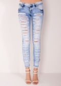 Lois Super Ripped Jeans Acid Wash Blue