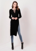 Long Lace Up Knitted Top Black Side Split Jessica | Lily Lulu Fashion