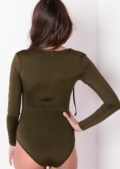 Long Sleeve Deep V Lace Up Bodysuit Khaki