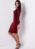 Long Sleeve Lace Up Bodycon Dress Burgundy