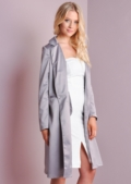 Longline Satin Feel Duster Coat Grey