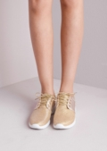 Luxe Gold Glitter Faux Leather and Mesh Trainers Gold