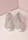 Luxe Silver Glitter Faux Leather and Mesh Trainer Silver