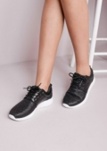 Luxe Black Glitter Faux Leather and Mesh Trainers Black
