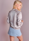 MA-1 Satin Zip Up Bomber Jacket Grey