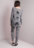 Melange Tracksuit Loungewear Set With Back Bow Detail Grey