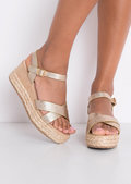 Metallic Cross Front Espadrille Wedge Sandals Gold