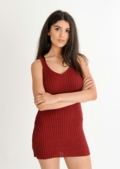 Mila Ribbed Bodycon Dress Oxblood