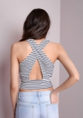 Monochrome Striped Cross Back Crop Top