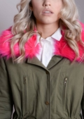 Neon Pink Detachable Faux Fur Collar Fully Lined Parka Coat Khaki Green