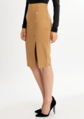 Nikita Button Up Pencil Skirt Camel