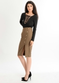 Nikita Button Up Pencil Skirt Khaki