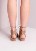 Open Toe Lace Up Low Block Heel Sandals Beige