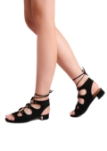 Open Toe Lace Up Low Block Heel Sandals Black