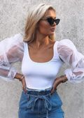 Organza Scoop Neck Puff Long Sleeve Crop Top White