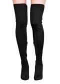 Over the Knee Thigh High Long Boots in Stretchy Lycra Black