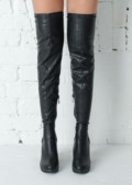 Over the Knee Thigh High Cleated Sole Faux Leather Boots Black