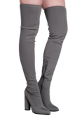 Over the Knee Thigh High Long Boots in Stretchy Lycra Grey