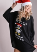 Penguin Oversized Christmas Dip Hem Dress