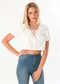 Pipper Lace Up Front Crop Top White