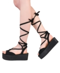 Platform Lace Up Wedge Sandals Suede Black