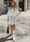 Pleated Frill Sleeve Smock A Line Mini Dress White