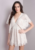 Plunge Lace Playsuit Cream