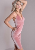 Plunge Neck Cross Strap Velvet Bodycon Dress Pink