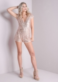 Plunge V Neck Sequin Fitted Playsuit Rose Gold