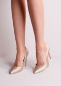 Pointed Stiletto Court Heels Hologram Rose Gold