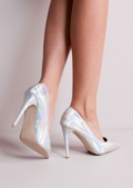 Pointed Stiletto Court Heels Hologram Silver